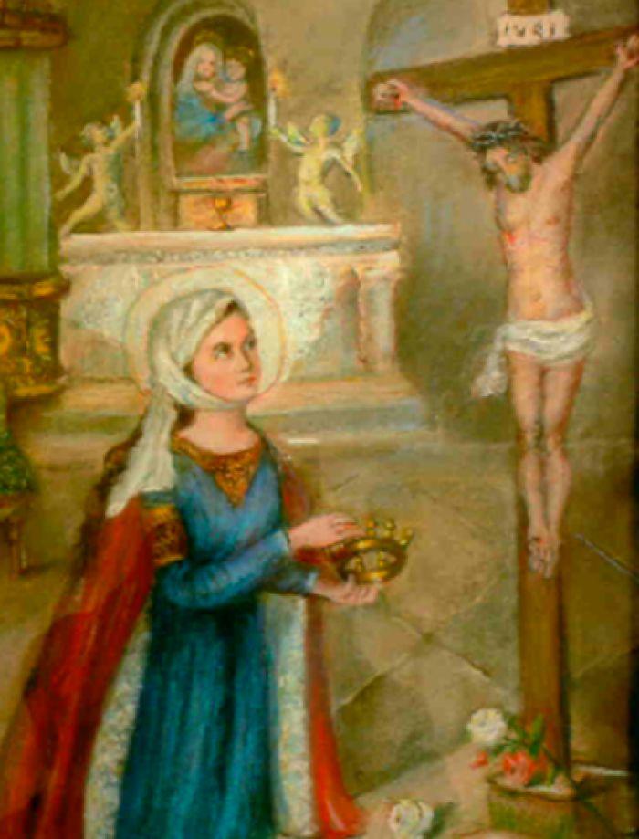 Obraz św. Elżbiety modlącej się pod krzyżem.