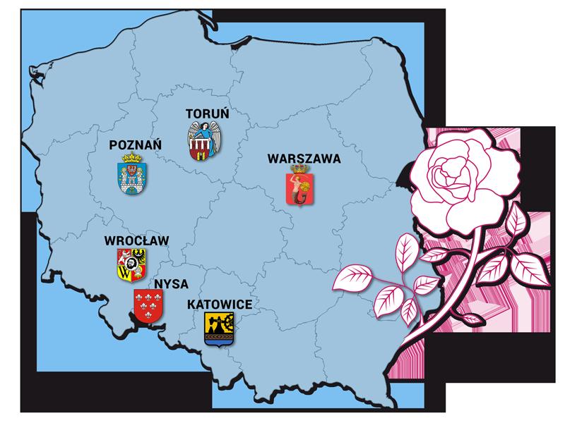 Mapa polski z zaznaczonymi prowincjami